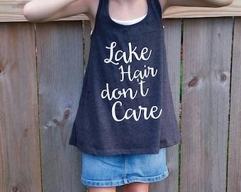 Lake Hair Don't Care Tank Top - kids