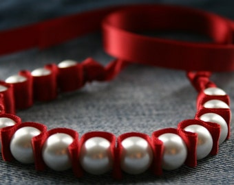 Crimson Mollie Pearls and Ribbon Bracelet