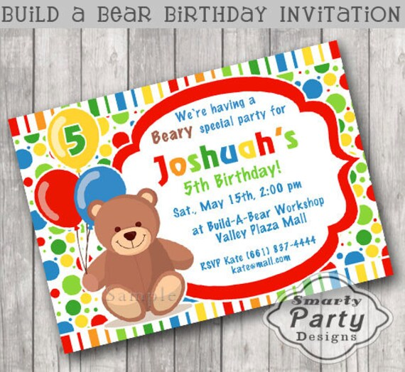 Build Bear Birthday Party Invitation Teddy Bear Invite