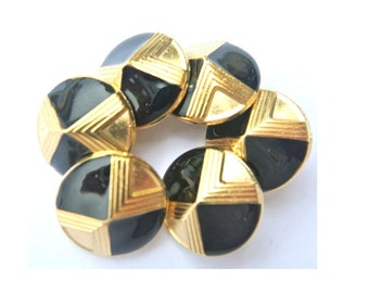 6 Vintage metal buttons, gold color with black enamel designed buttons, shank buttons, 23mm