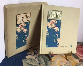 1915 Hello Book of Poetry Arts and Crafts Style IOB