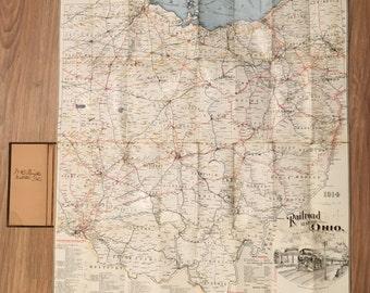 Antique Ohio Linen Railroad Map - Unique Train Paraphernalia - Circa 1914 - Railways - Railroad Paraphernalia - Train Advertising