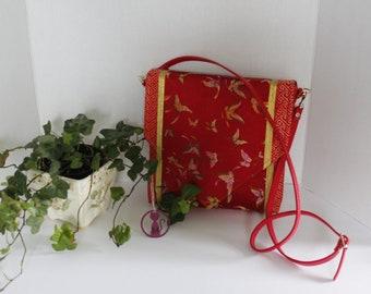 Purse Asian Red Butterflies Handbag Repurposed Fabric