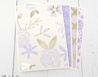 Stationery Set, Purple Floral Notecards, Gold, Boxed Cards, Handmade Stationery, Handmade Cards