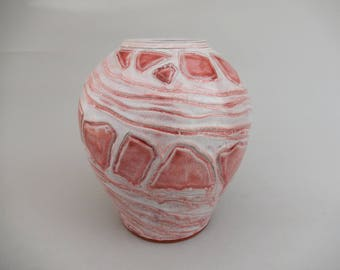 Red Pottery Flower Vase, Round Ceramic Spiral Rock Design, Hand Carved Earthenware