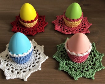 A set of 4 handmade crochet Easter egg cozies