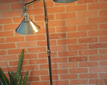 Floor  lamp  industrial Edison bulbs  iron pipe metal shade iron  flange wood base