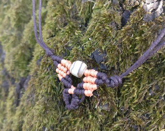 Macrame Necklace with Butter Jade