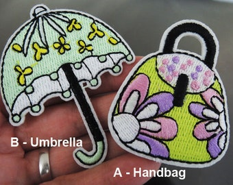 Iron on Patch - Umbrella Patch or Handbag Patch Lady Girl Bag Patch Iron on Patches or Sewing on Patch