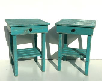 End Table Set With Drawer/Distressed Night Stand Set With Drawer/Rustic Side Table/Bedside Table/Modern Farmhouse Style/Turquoise