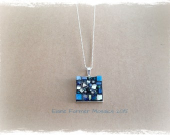 Sky Blue Square Mosaic Necklace Pendant