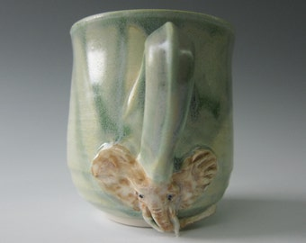 African Elephants Never Forget Mug - Handmade Pottery - Soft Satin Green Glaze - Porcelain Cup