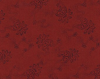 Jo's Best Friends - Half Yard - Red with Black Swirly Design Jo Morton Reproduction Designer Quilting Fabric by Andover - P0260-2880-R