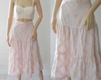 Lovely 70s Boho Pink Skirt