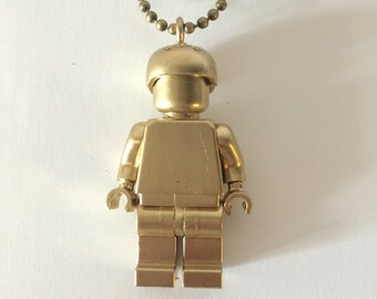 Minifig roller derby Necklace, gold painted lego necklace, lego jewelry, lego minifig, minifig jewelry, skater helmut, FREE SHIPPING