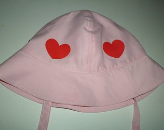 Hats For Toddler Girl Size 3T -  Pink  Sun Hat With Red Hearts - Summer Fun Hat With Red Hearts All Around - Light Pink Baby Hats