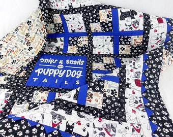 """Applique Baby Quilt Pattern PDF, """"Snips & Snails and Puppy Dog Tails"""" with Prairie Points – Easy - Instant Download"""