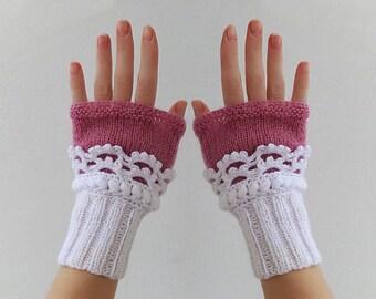 Fingerless gloves. Women Knit  Arm Wrist Warmers, winter Crochet  mittens, White Deep Fuchsia.