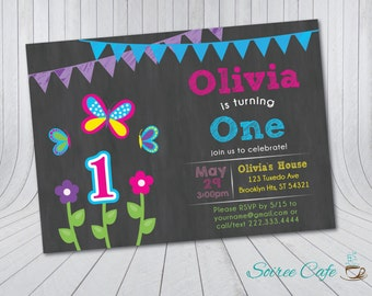 Butterflies and Flowers Birthday Invitation {Digital File} Custom Birthday Invite 5x7