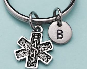 EMS symbol keychain, EMS symbol charm, medical keychain, personalized keychain, initial keychain, customized keychain, monogram