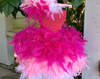 Triple layer feather dress, pageant outfit, feather tutu, tutu couture, dress couture, high fashion, child feather tutu, couture feather