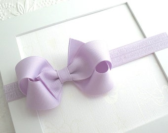 "Pastel Lavender Baby Headband ~ 3"" Boutique Bow, Baby Bow Headband for Newborns, Infants, Babies, Girls ~ Lavender Hair Bow Headband"
