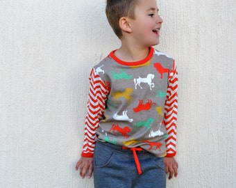 Kids T shirt, sweatshirt sewing pattern with Bunny Applique, pdf sewing pattern for boys & girls 9 mths to 12 yrs.