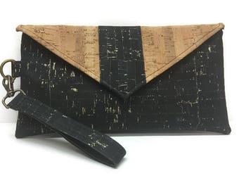 Cork Wristlet, Cork Clutch Bag,  Cork Handbag, Black Wristlet, Wristlet Wallet, iPhone Wristlet, Black and Gold Cork, Gifts for Her