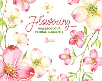 Flowering Elements. Watercolor clipart, flowers, leaves, branches, green, pink, wedding invitation, diy clip art, delicate, romantic, spring