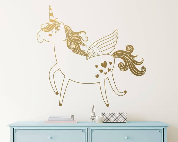 Charming Unicorn Wall Decal Vinyl Wall Decal Unicorn Decal Kids