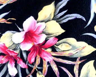 """FABRIC ... French Silk Crepe Material  4 yds 44"""" w Black w Pink flowers"""