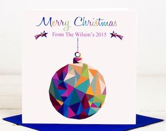 Geometric Bauble Christmas Card