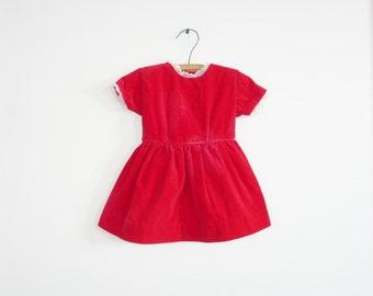 Vintage Red Velveteen Dress