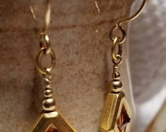 Handmade Earrings - 14K Gold Filled Earwires, Framed TOPAZ Swarovski Drops