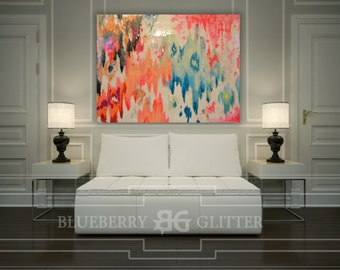 """Sold!! Acrylic Abstract Art Large Canvas Painting Gray, Pink, Copper Ikat Ombre Glitter with Glass and Resin Coat 36"""" x 48"""" real gold leaf"""