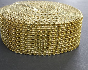 "FREE SHIPPING - .16""x10YD Gold Rhinestone Ribbon"