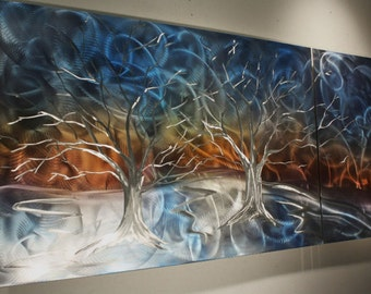 Wilmos Kovacs Contemporary Metal Wall Tree Art Sculpture, Modern Art Wall Sculpture, Tree of Life - W144