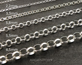 sterling silver chain - rolo chain 1,7mm 2,2mm 3,3mm 3,8mm 5,3mm 6,5mm