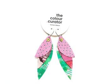 Boho Feather Earrings, Pink & Green Polka Dot Dangle Earrings, Colourful Statement Fabric Earrings, Retro print, Textile Jewellery.