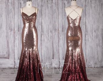 Bridesmaid Dress Rose Gold & Wine Ombre Sequin Dress,Wedding Dress,Long Spaghetti Strap Prom Dress,Ruched V Neck Bodycon Party Dress(HQ697)