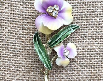 Vintage Spring Easter Violet Purple Flower pin with rhinestones