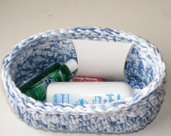 Boy or Girl Nursery Basket, Washable Makeup Bin, Bathroom Storage Basket, Crocheted Oval Toiletry Bin in Blue and White, Catch All Bin