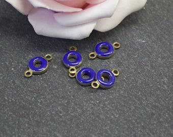 x 10 small connectors donuts in raw brass and blue enamel 11.5x6.5 SG18 mm