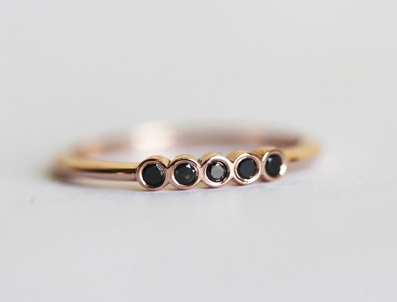 Delicate Black Diamond Wedding Ring Thin Band Rose Gold Half Eternity Ring14k