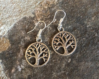 Tree of life earrings, dangle earrings, best selling earrings, silver plated
