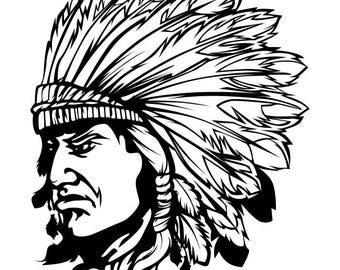 American Indian #3 Native Warrior Headdress Feather Tribe Chief Aztec Mascot Tattoo Logo .SVG .EPS .PNG Clipart Vector Cricut Cut Cutting