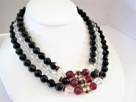 Lucite Bead Necklace, Faceted Red Clear Beads, Rhinestone Rondelles, 3 Strand Choker
