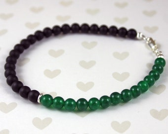 Emerald, Black Matte Onyx May Birthstone and Sterling Silver Anklet