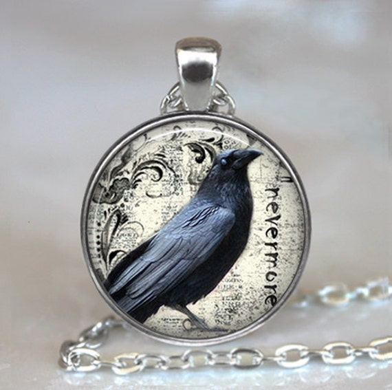 Poes raven pendant raven necklace poe nevermore goth aloadofball Choice Image