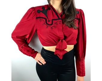 Vintage red silk cowgirl blouse by BELLINO PARIS MODE